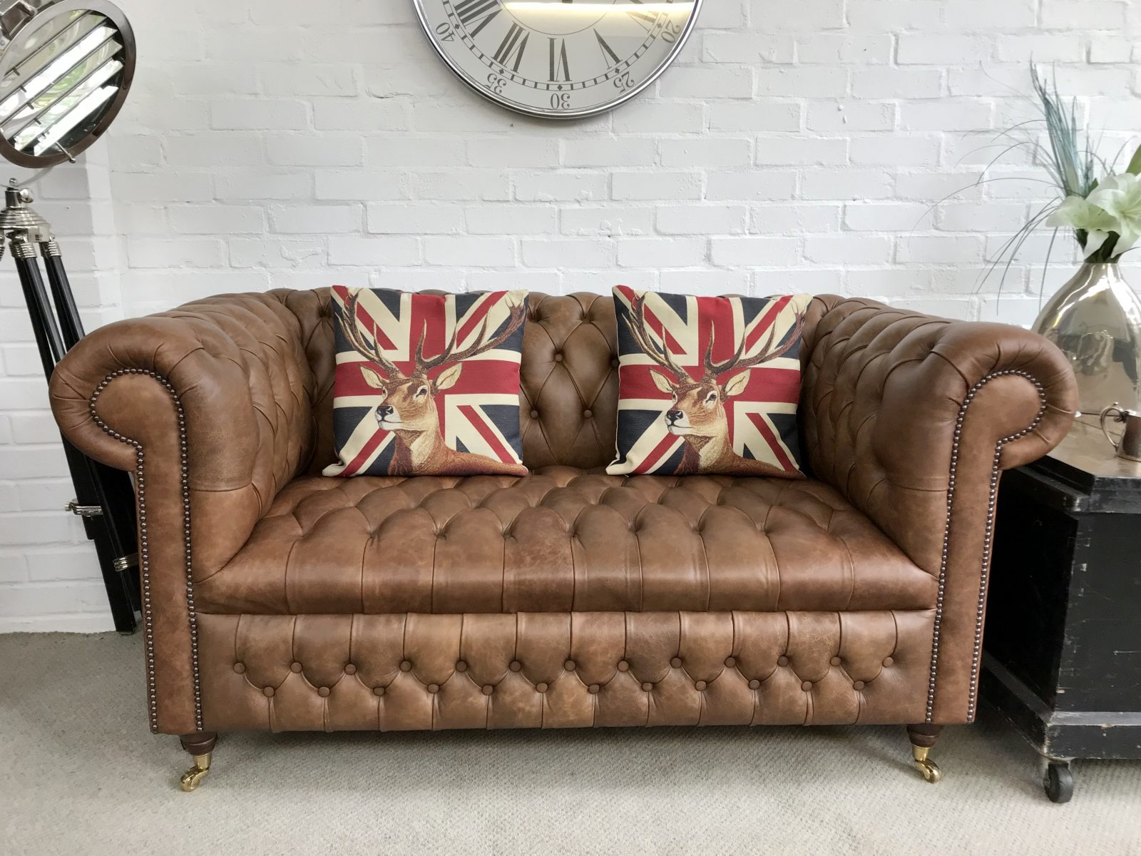 Saddle Tan Chesterfield Sofa. ( Matching 3 Seater Available )