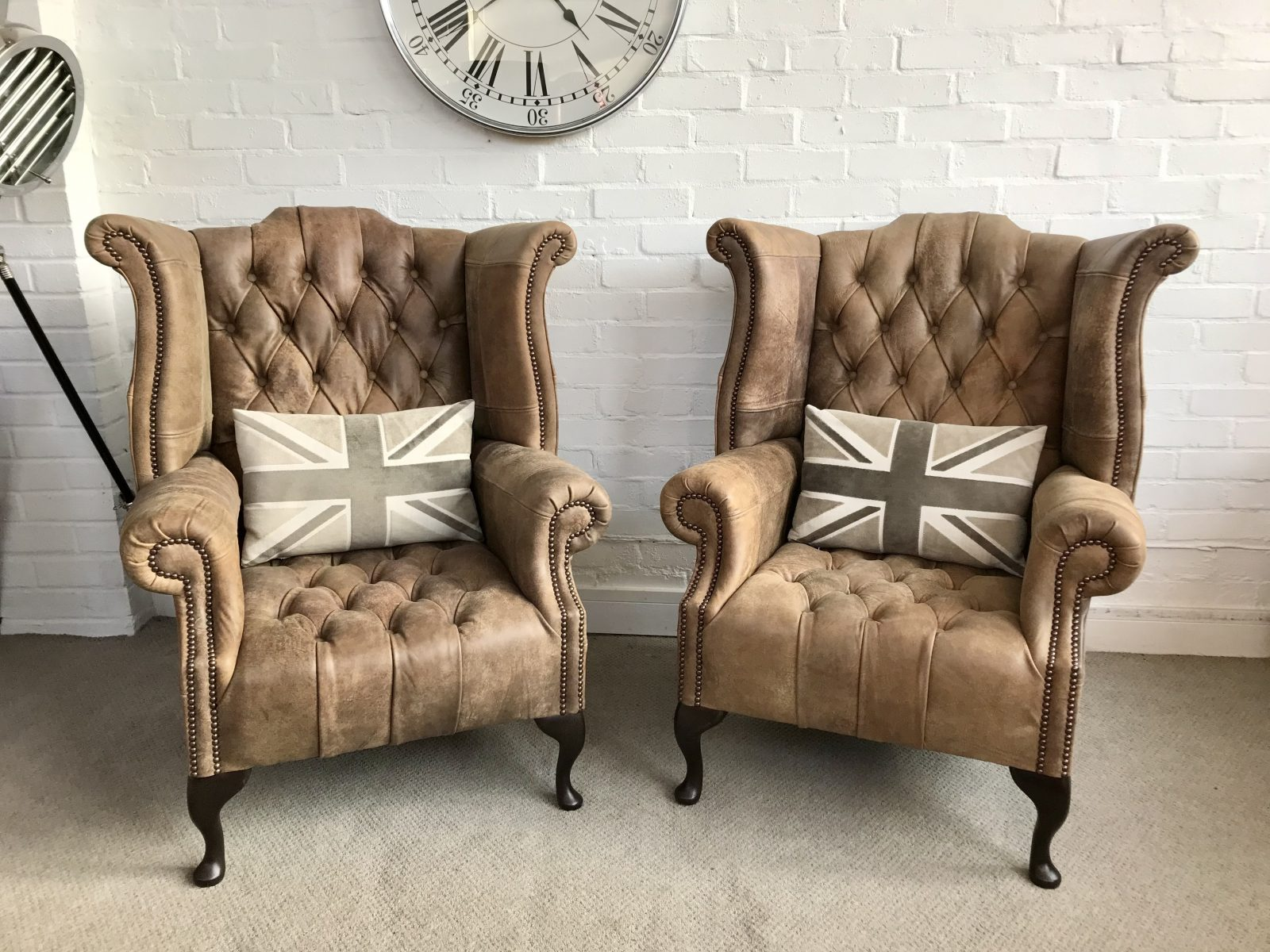 Stunning New Queen Anne Wingback Armchairs.