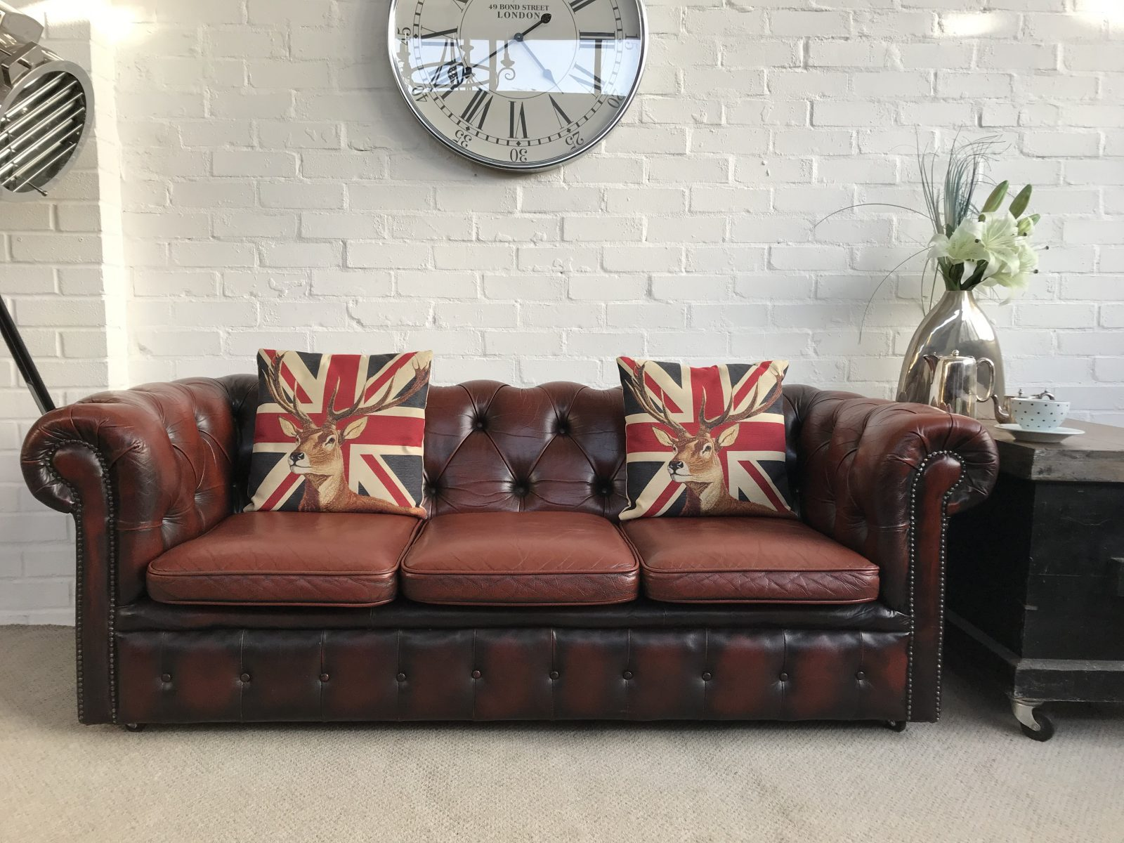 A Charming Small Vintage 3 Seater Chesterfield Sofa.