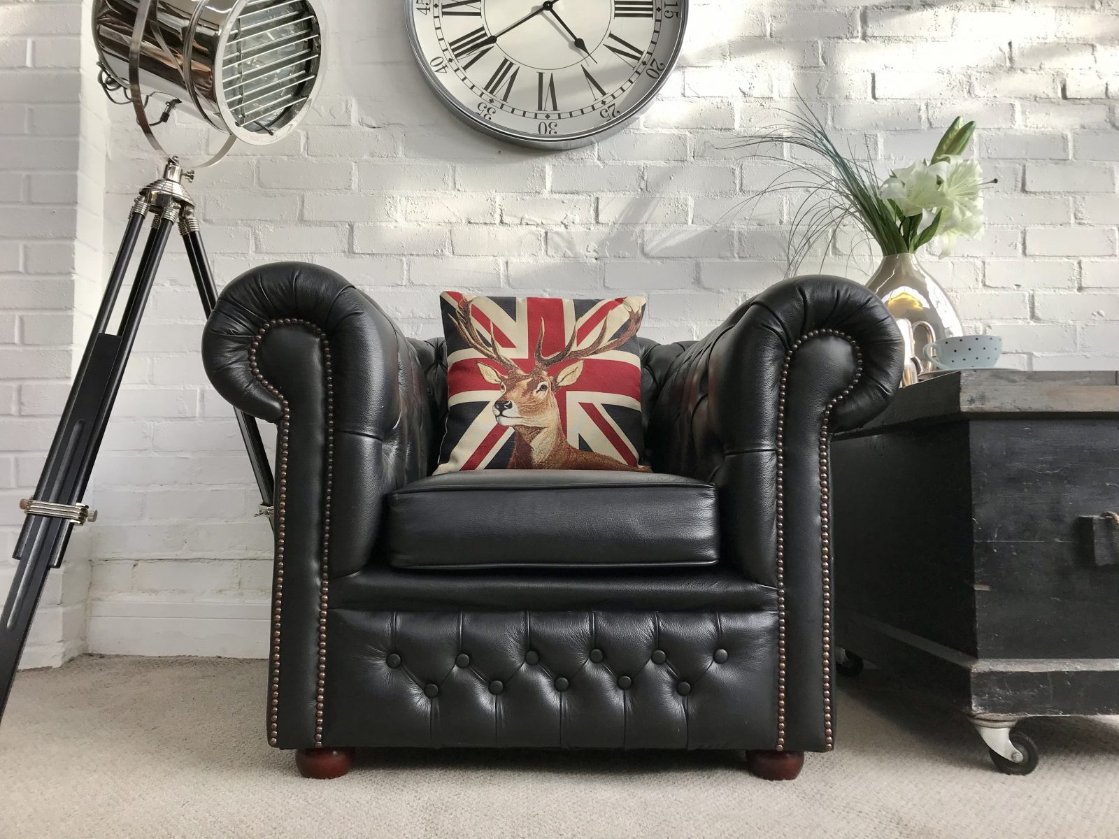 Midnight Black Club Chair. (Matching Footstool Available)