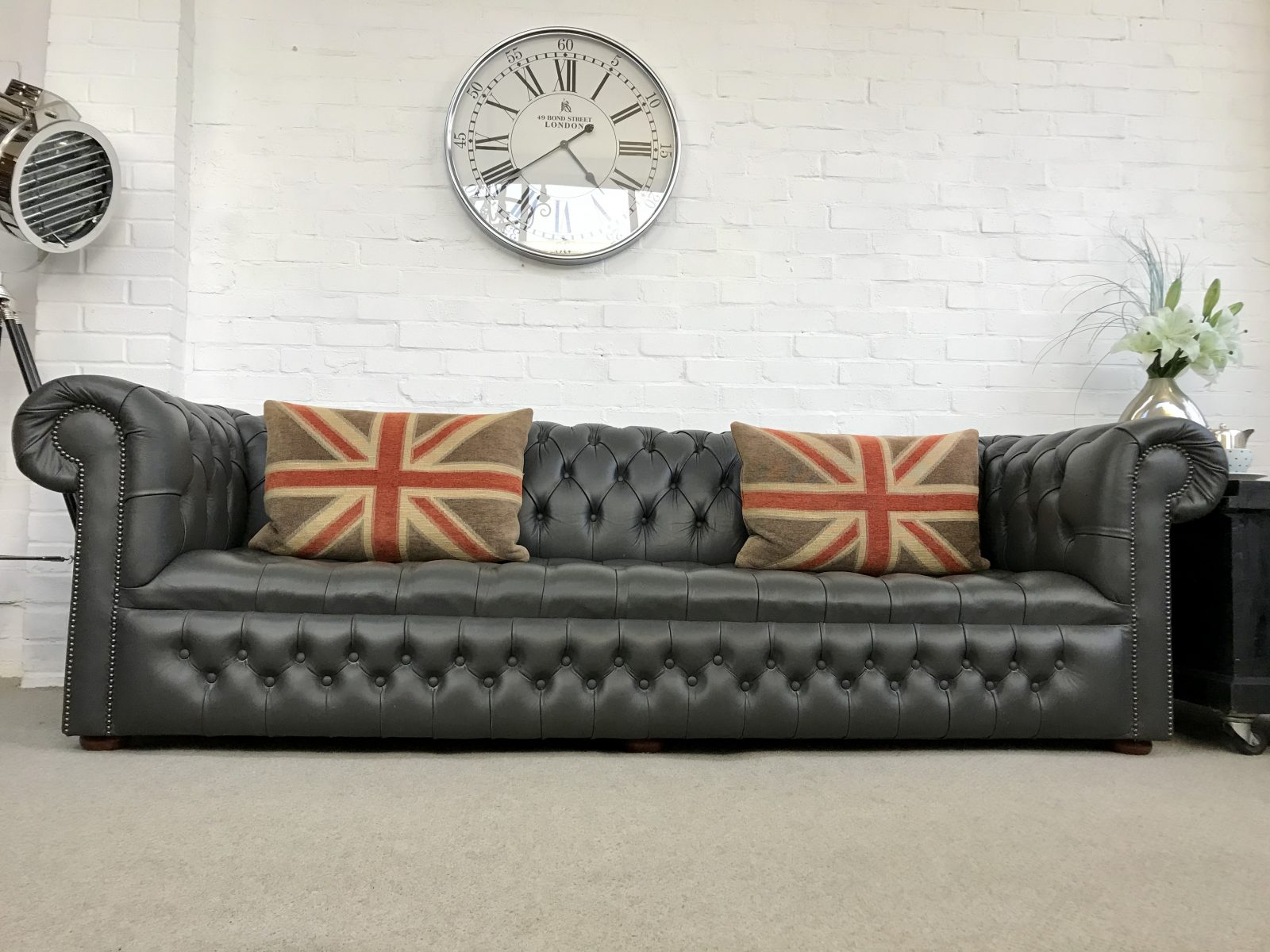 Steel Grey 4 Seater Chesterfield Sofa.