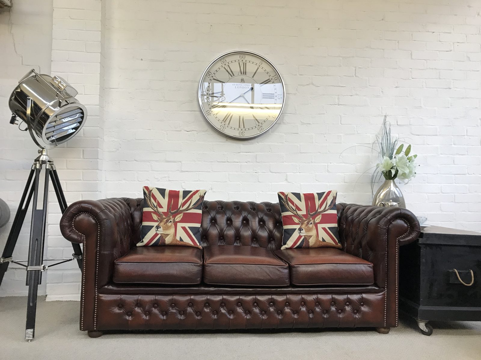 Rustic Brown Chesterfield Sofa.
