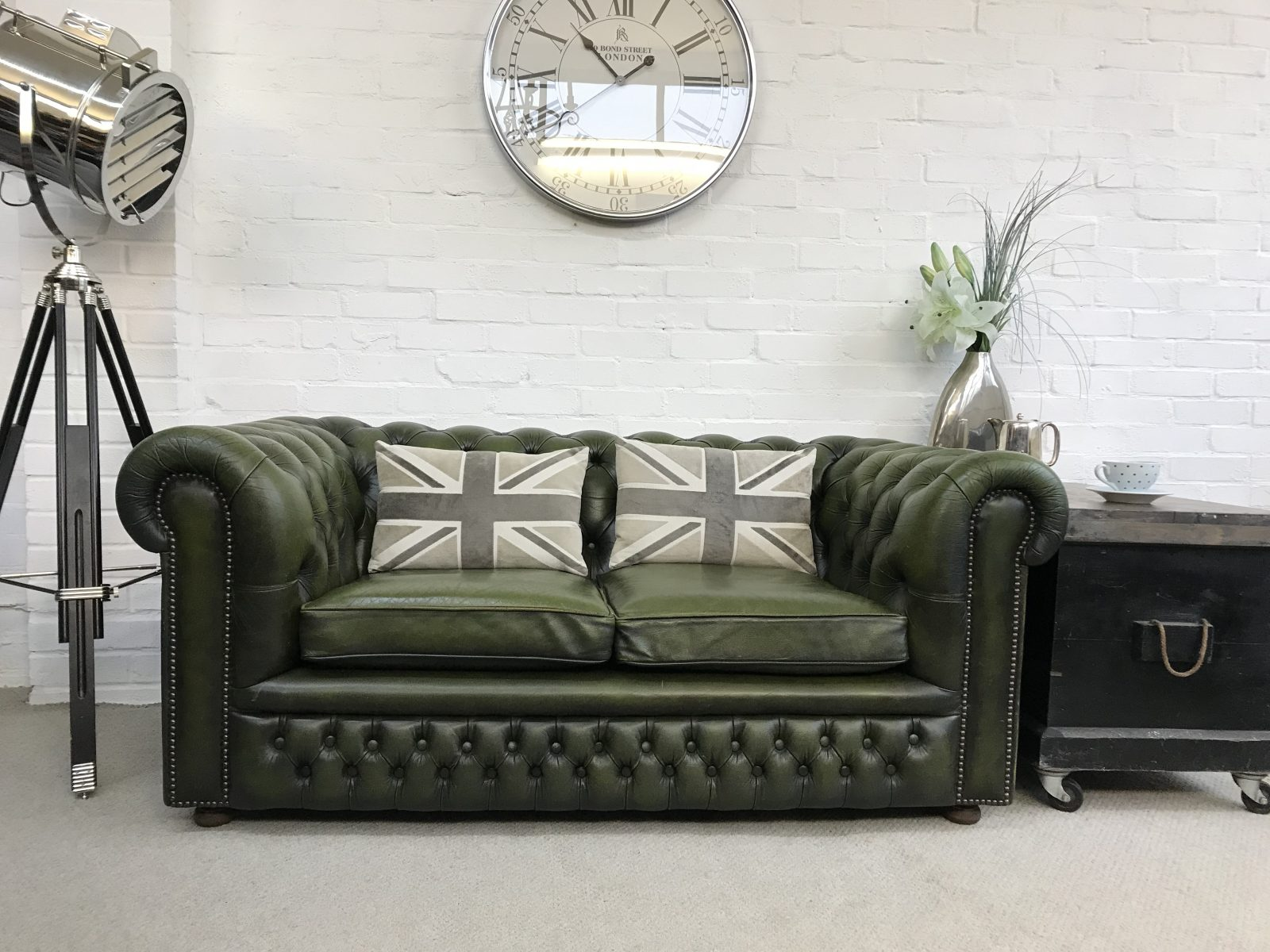 Vintage Olive Green Chesterfield Sofa.