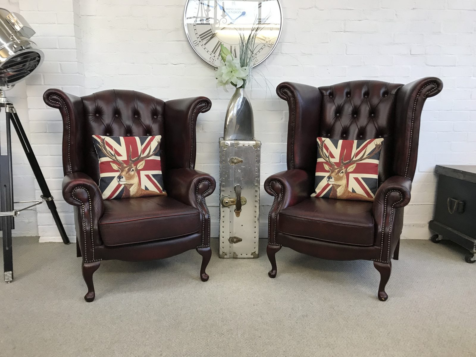 King And Queen Wingback Armchairs & Footstool.