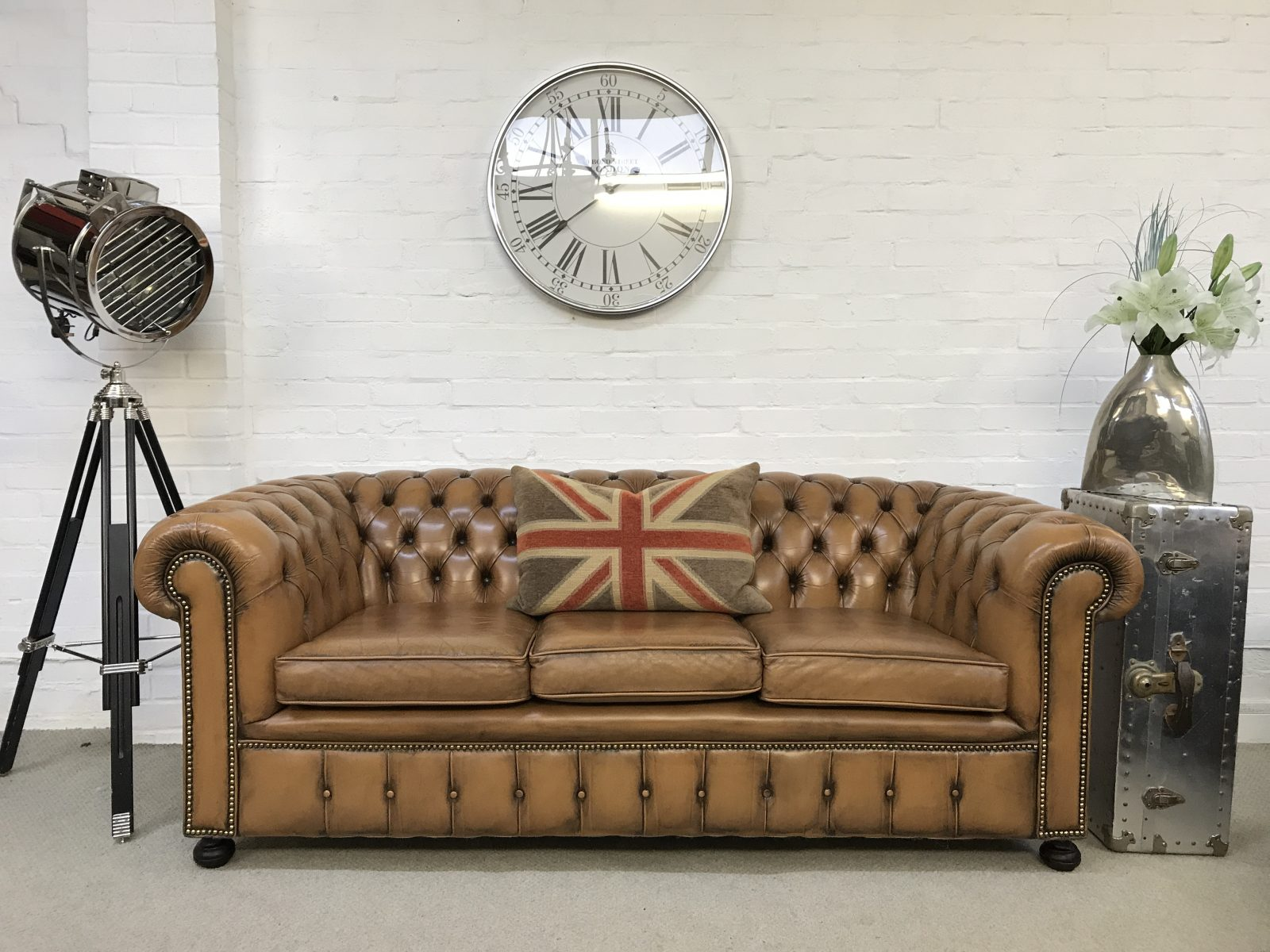 Vintage Whisky Tan Chesterfield Sofa.(Matching Wingback Armchair Available)