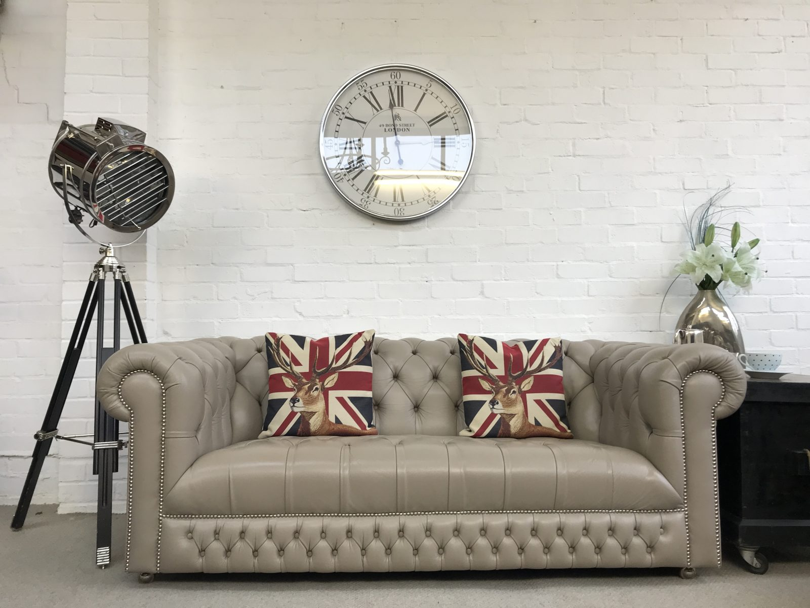 Taupe Grey Chesterfield Sofa By Saxon.