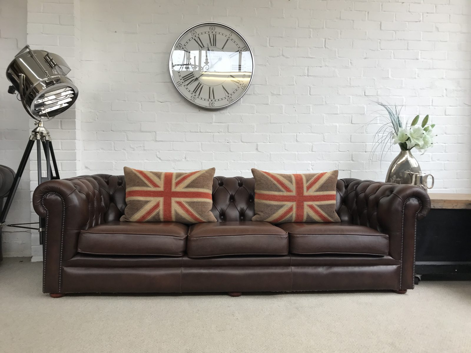 Brown 4 Seater Chesterfield Sofa.