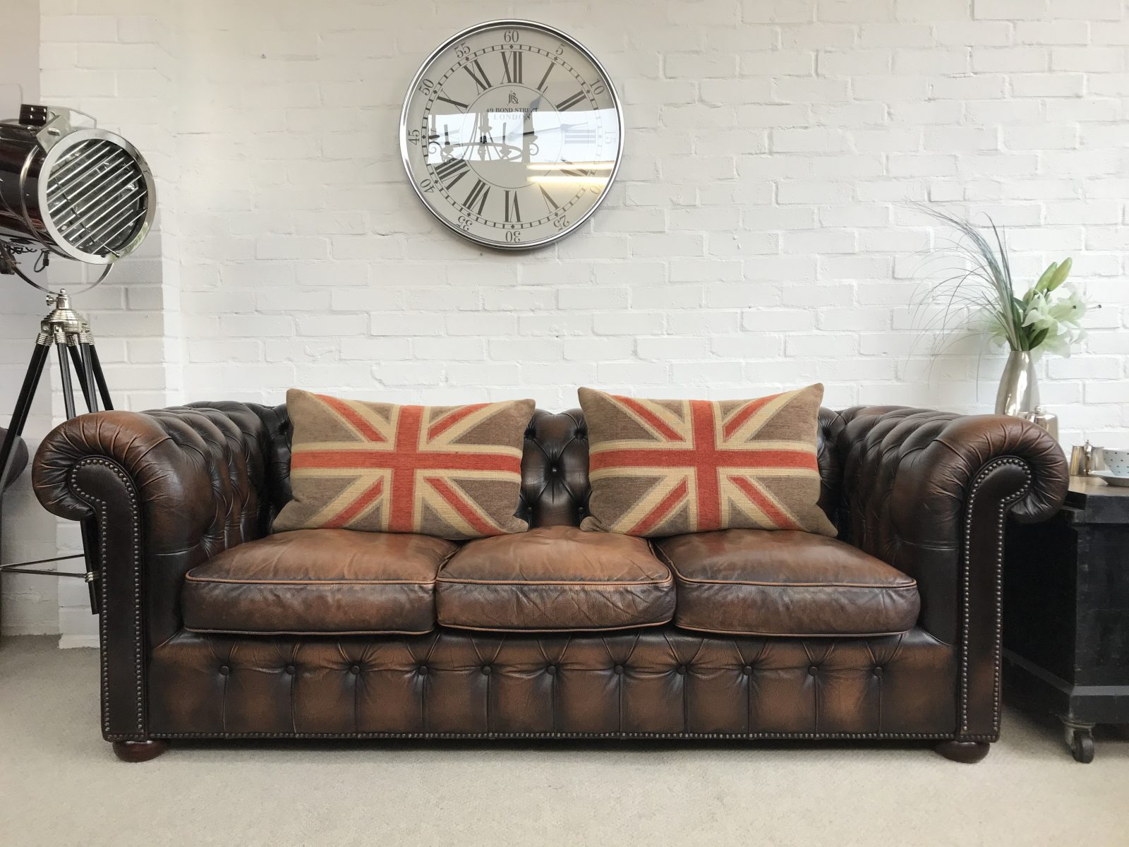 Stunning Vintage Antique Brown Chesterfield Sofa…..SOLD.