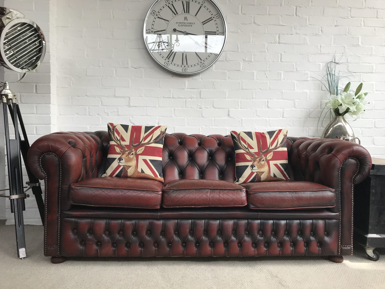 Vintage Oxblood Chesterfield Sofa.(One Of A Matching Pair)