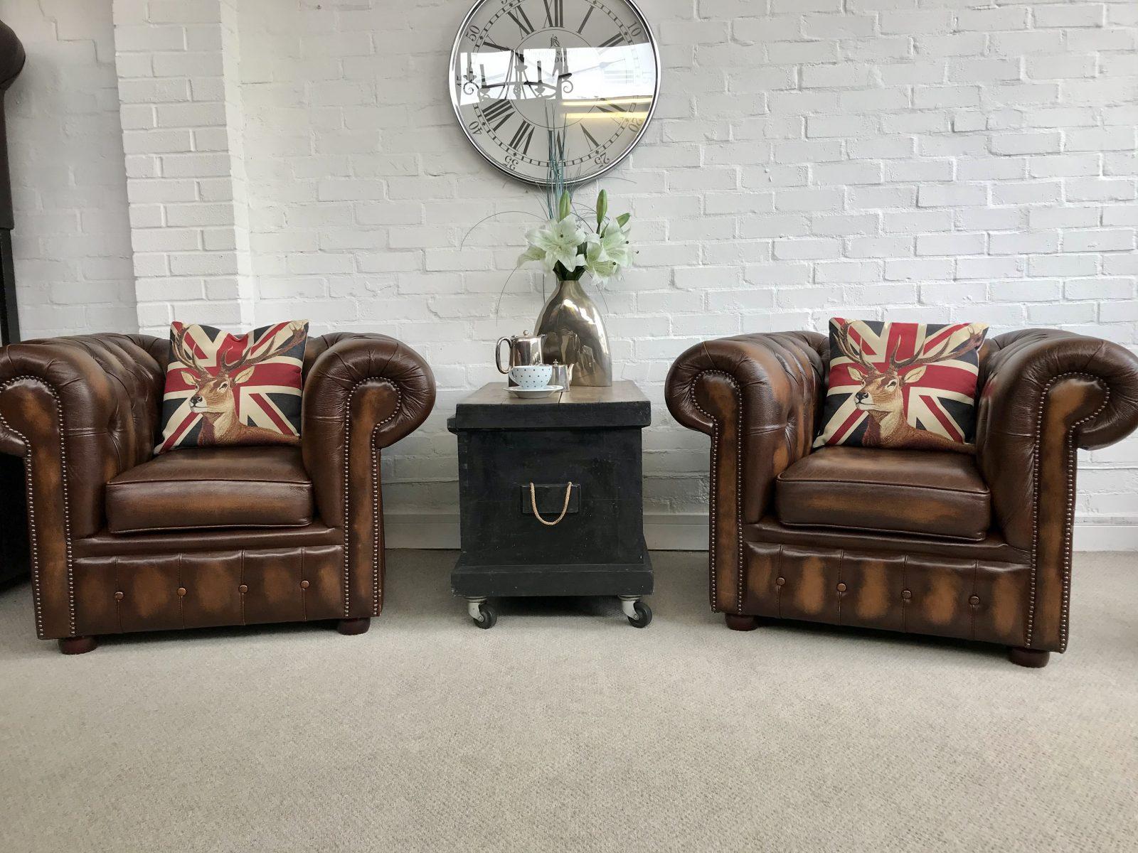 Golden Brown Club Armchairs.