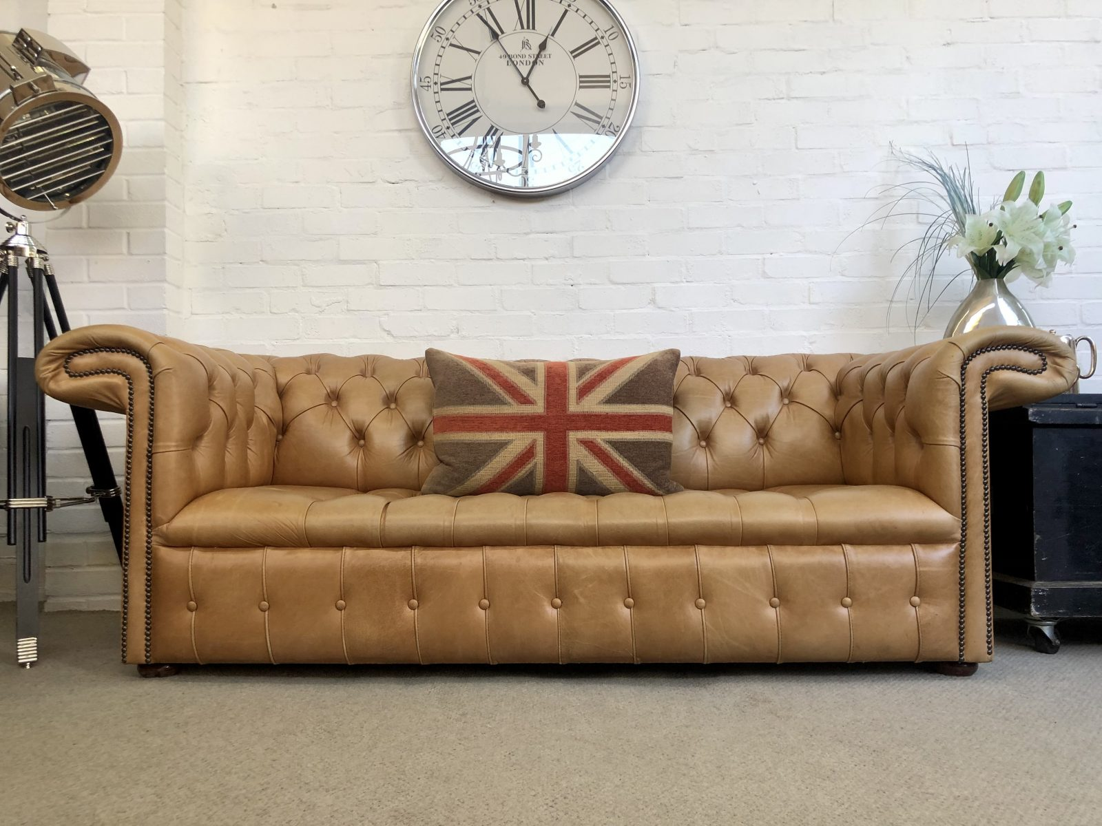 Classic Tan Chesterfield Sofa.( One Of A Matching Pair.)