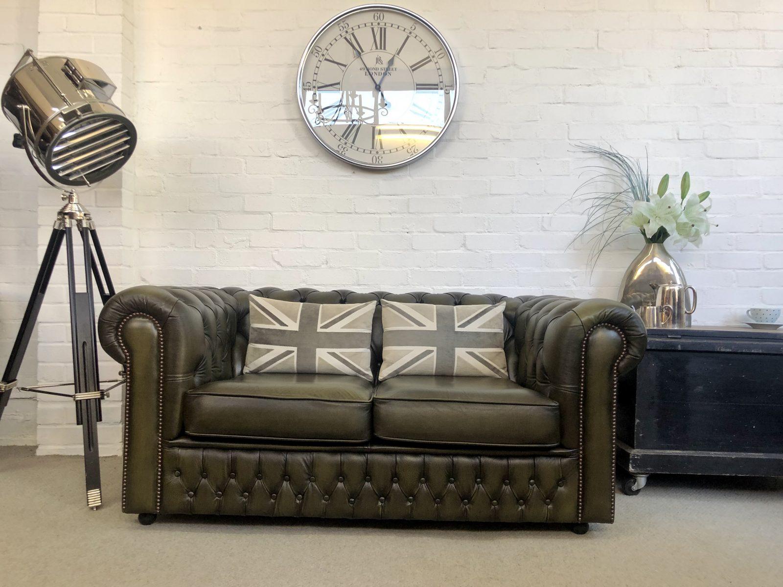 Olive Green Saxon Chesterfield Sofa.