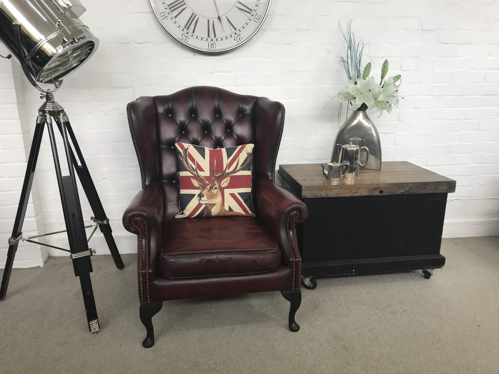 Classic Vintage Queen Anne Wingback Armchair.