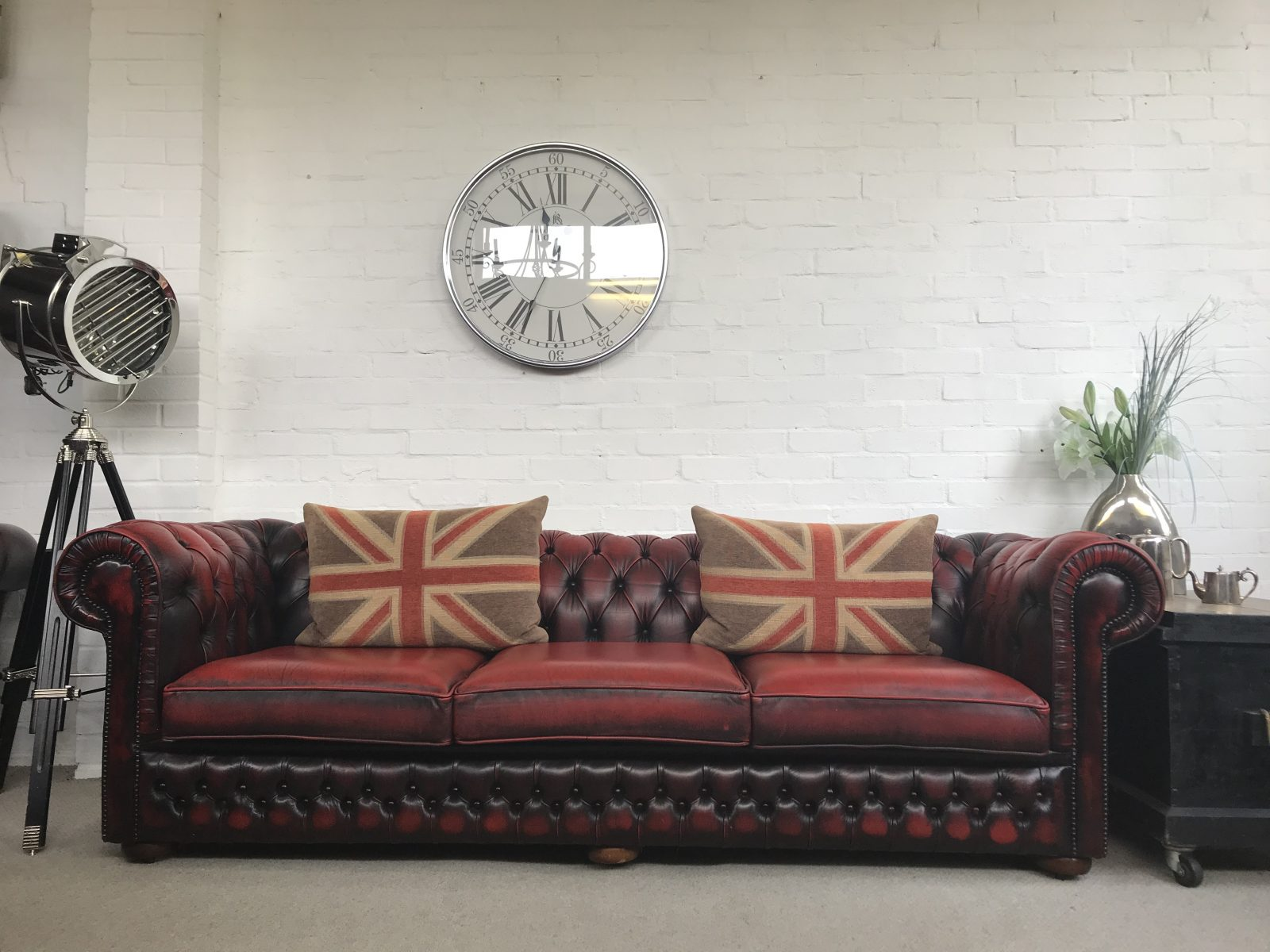 Vintage 4 Seater Chesterfield Sofa.