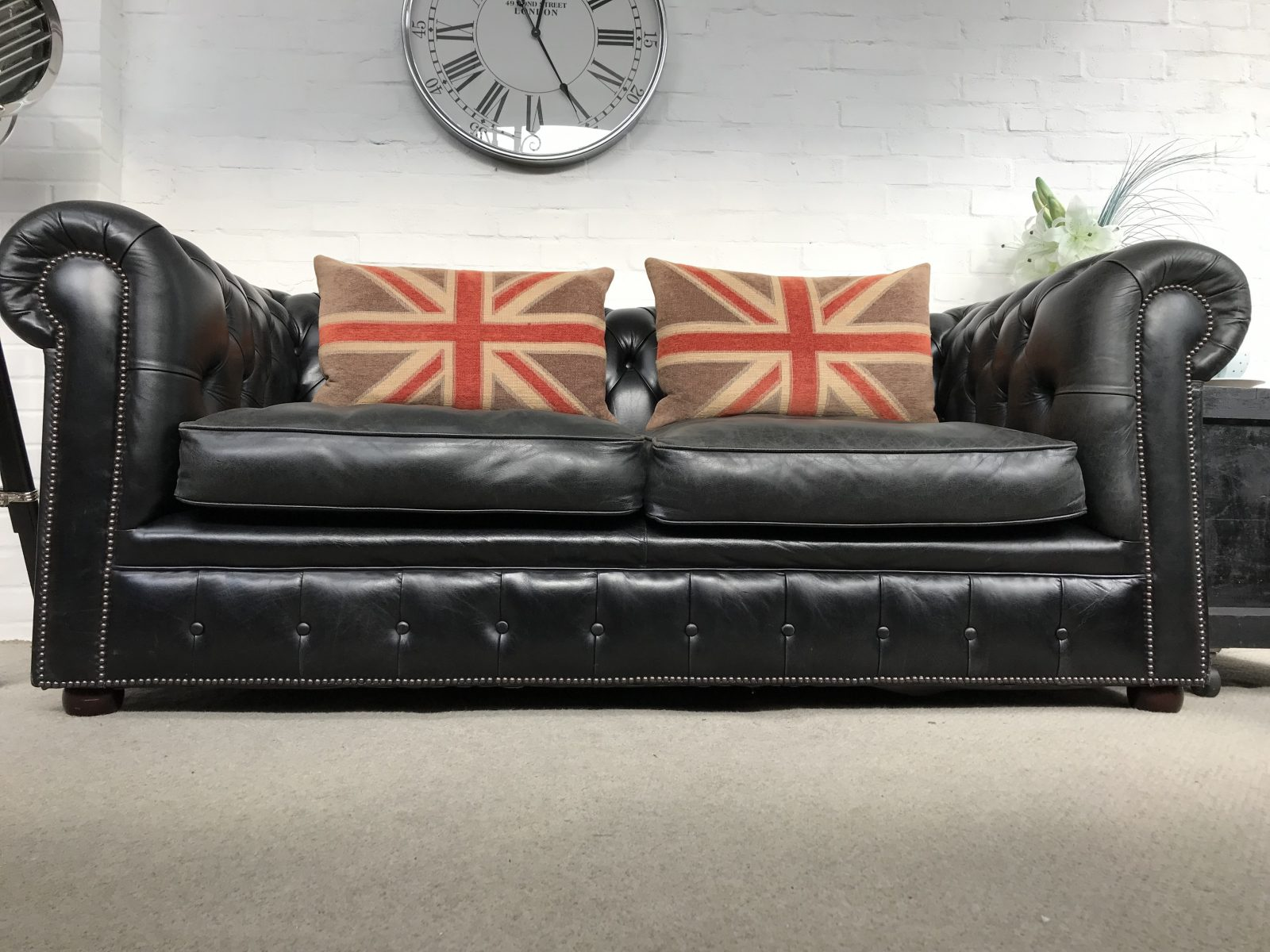 Fabulous Black 3 Seater Chesterfield Sofa By Roche Design.