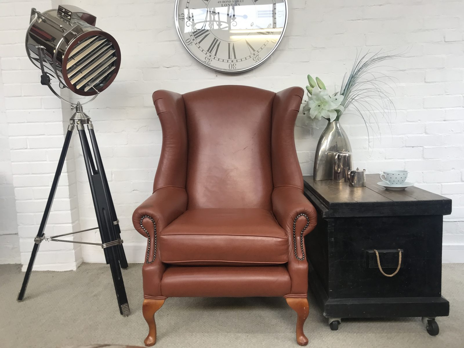 Saddle Tan Wingback Armchair.